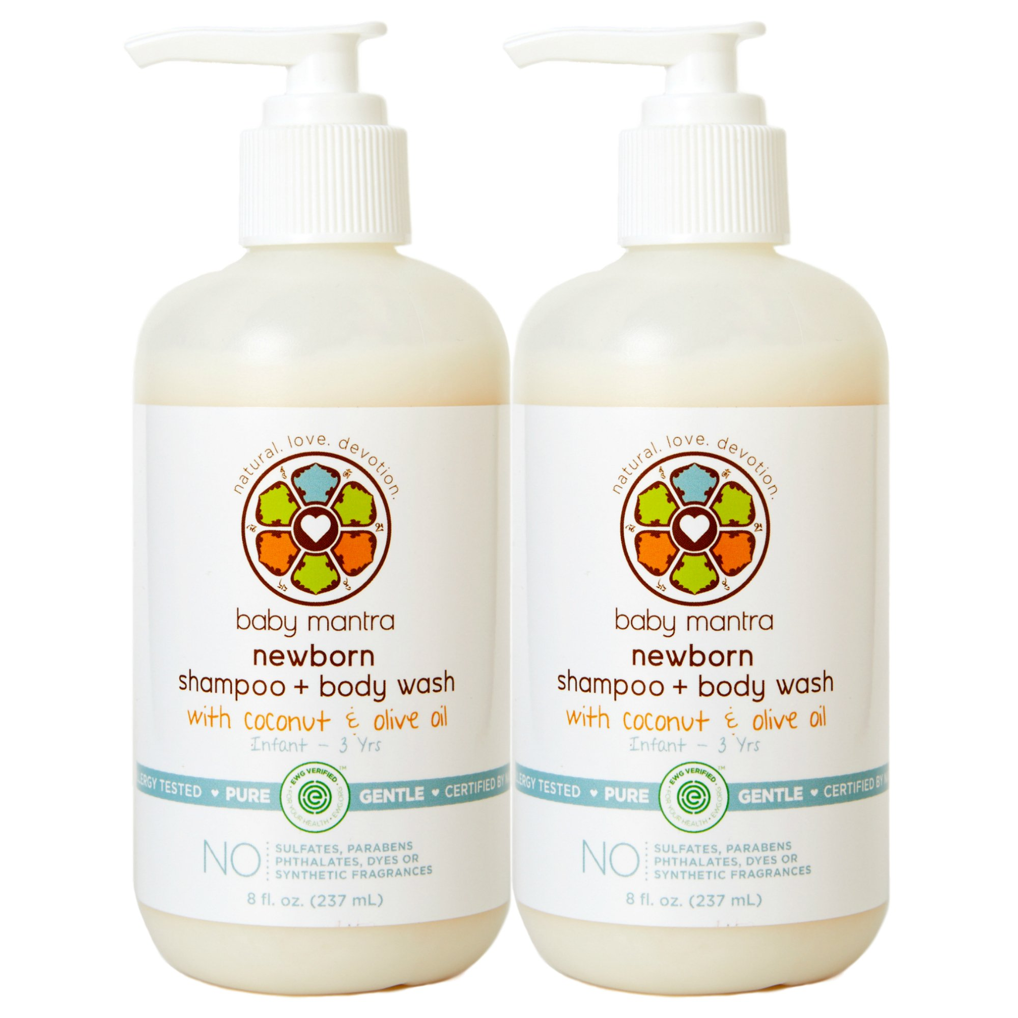 Baby Mantra 2-in-1 Shampoo and Body Wash - EWG Verified Bath Soap for Infants, Toddlers, and Kids with Sensitive Skin, 8 Ounce Pump Bottle (Pack of 2) by Baby Mantra