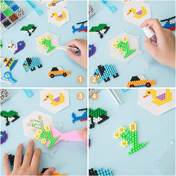 24 Colors 3500Pcs 5mm Water Spray Sticky Beads for Kids DIY Craft Water Fuse Beads Kit Child Birthday Christmas Gift