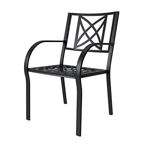 Vifah V1810 Ronsard Outdoor Patio Aluminum Chair Set of 2 , Black