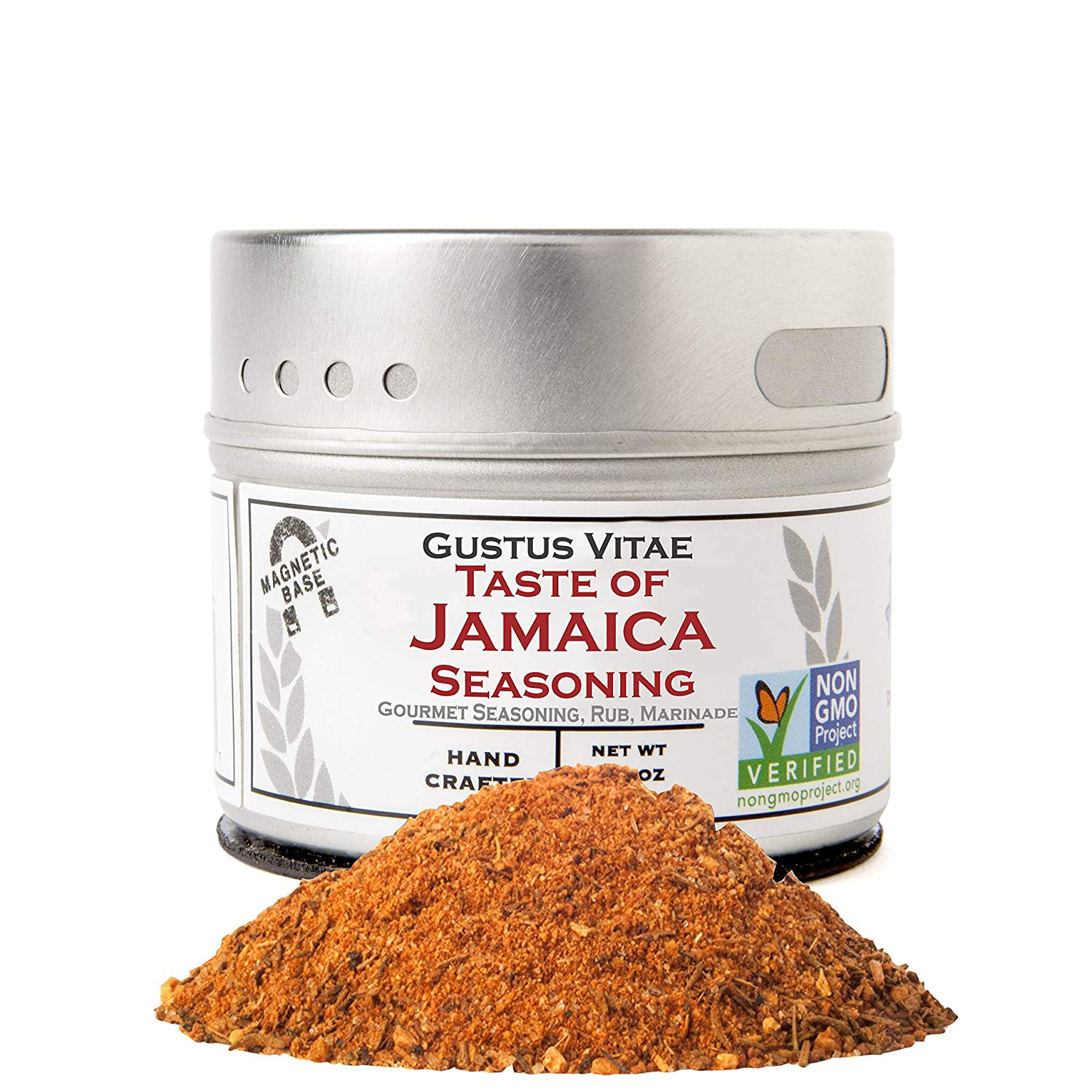 Taste of Jamaica Jerk Seasoning & Spice Blend - Authentic Artisan Gourmet Blend - Non GMO - Crafted In Small Batches - All Natural - Magnetic Tin - Hand Packed - 1.5 Ounce