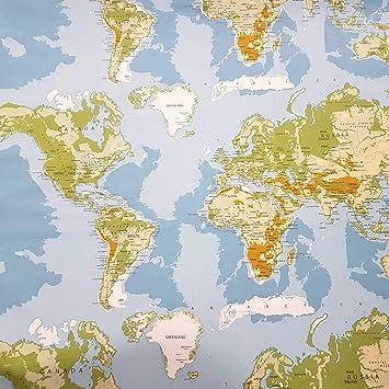 Stoff Meterware Baumwolle Weltkarte Hellblau Grun Erde Karte
