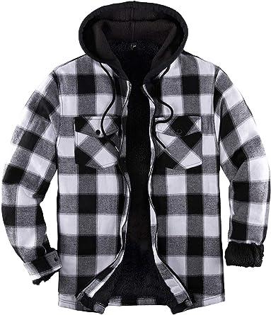 Mens Fleece Check Shirt Plaid Hooded Jacket Lumberjack Warm Thick Fur Shacket