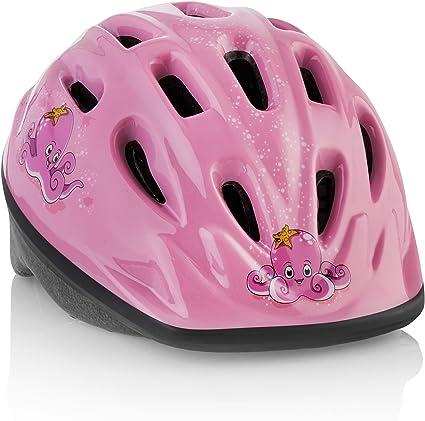 Casco bicicleta NIÑO / NIÑA [Pulpo rosado]– Ajustable: de 3 a 7 años. Casco infantil para bicicleta, duradero, con divertidos diseños acuáticos – Los peques lo AMAN - Certificado CE - Seguro