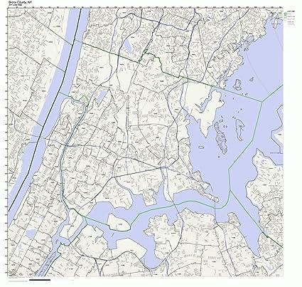Amazon Com Bronx County New York Ny Zip Code Map Not Laminated