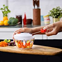 Delcasa Manual Food Chopper – Mini Food Processor – Manual Handheld Food Chopper/Cutter – Pull String to Slice Vegetables Onions Garlic Meat Nuts in Seconds - Stainless Steel Blades, Non-Slip Base