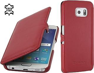 StilGut Book Type Case con Clip, Custodia in Pelle a Libro per Samsung Galaxy S6, Rosso Nappa