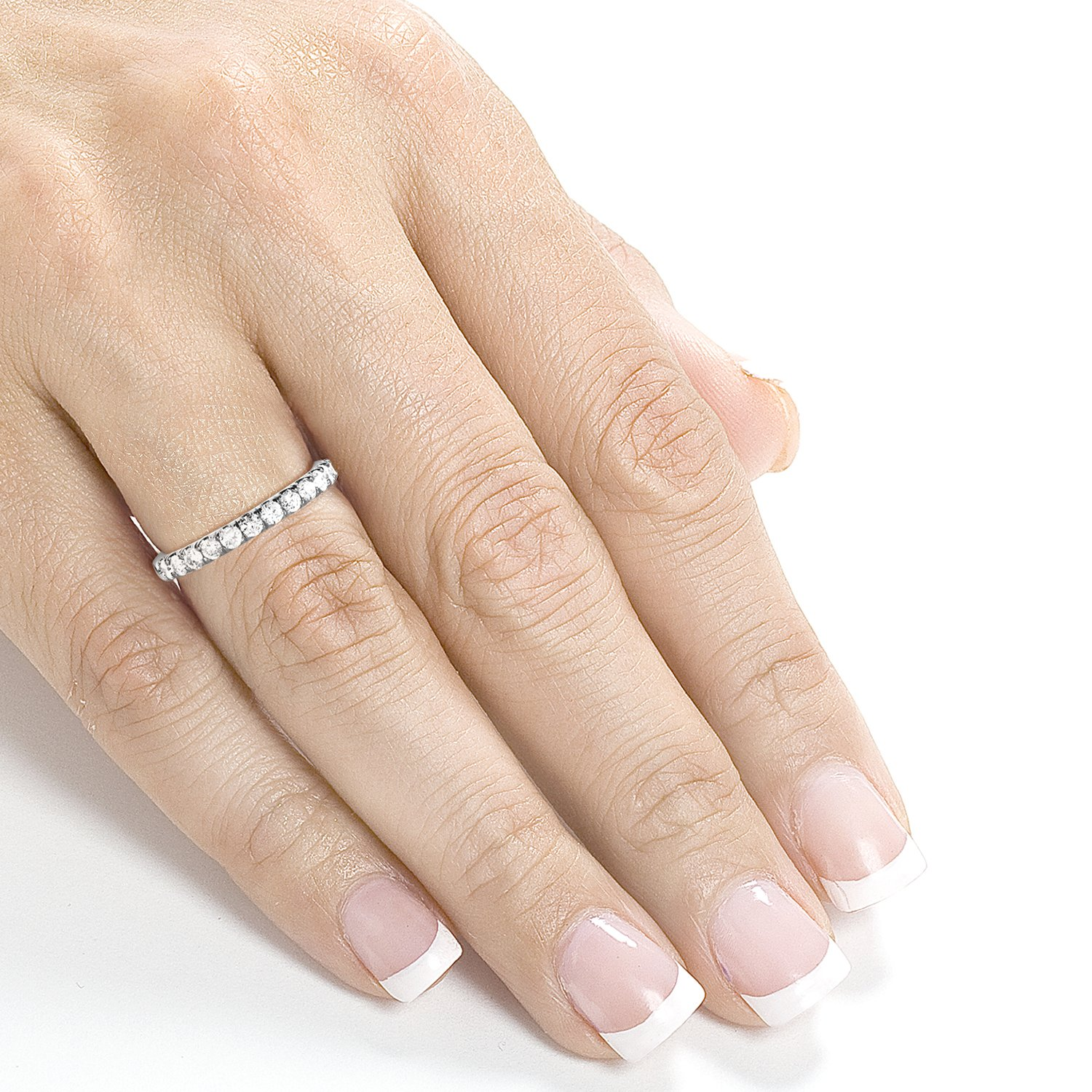 Diamond Comfort Fit Flame French Pave Band 1/2 carat (ctw) in 14K White Gold by Kobelli (Image #4)