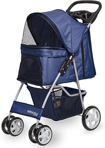 Paws Pals 4 Wheeler Elite Jogger Pet Stroller Cat Dog Easy to Walk Folding Travel Carrier