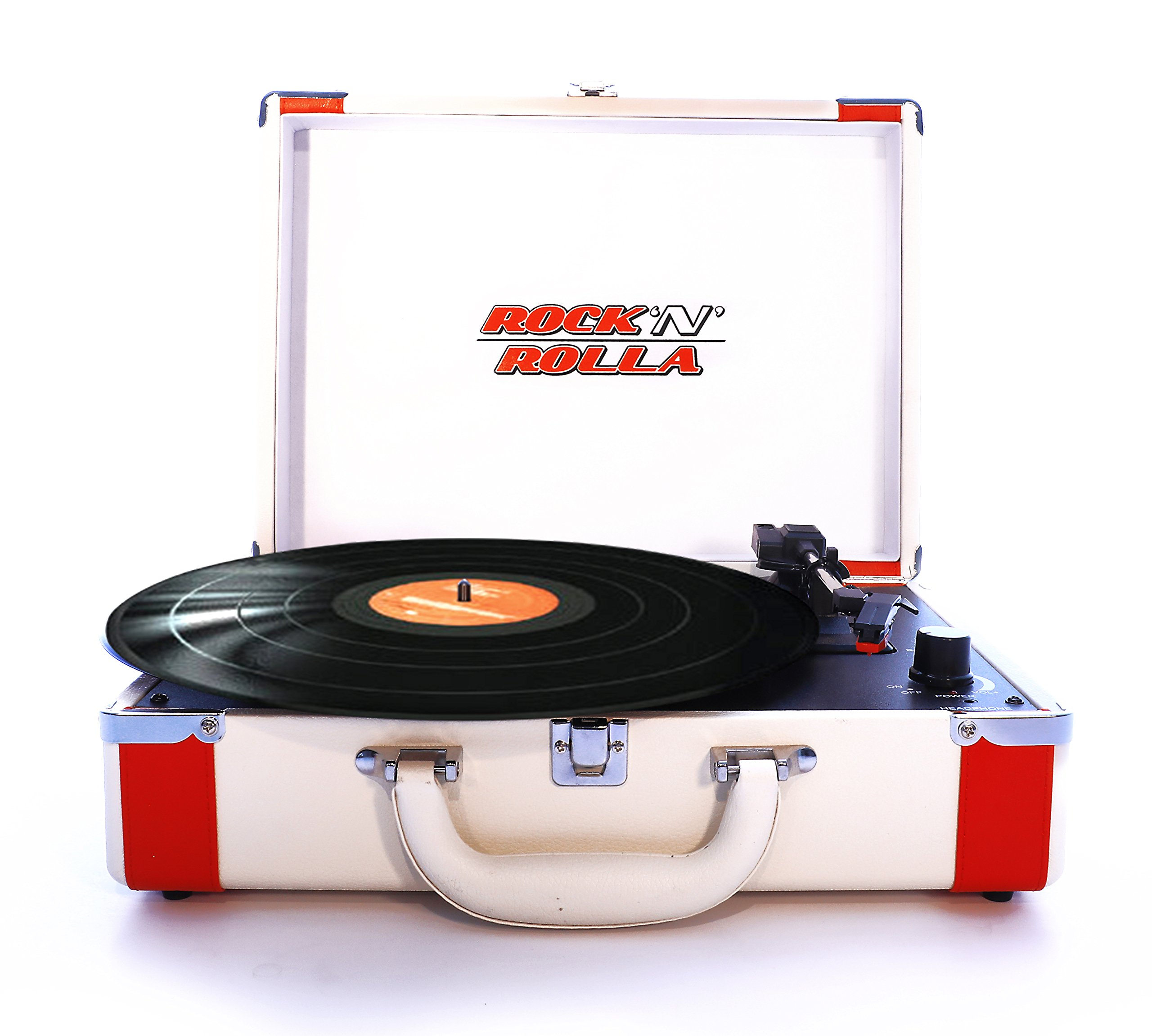 Rock 'N' Rolla Premium - Portable Bluetooth USB Vinyl Record Player Turntable - White/Red