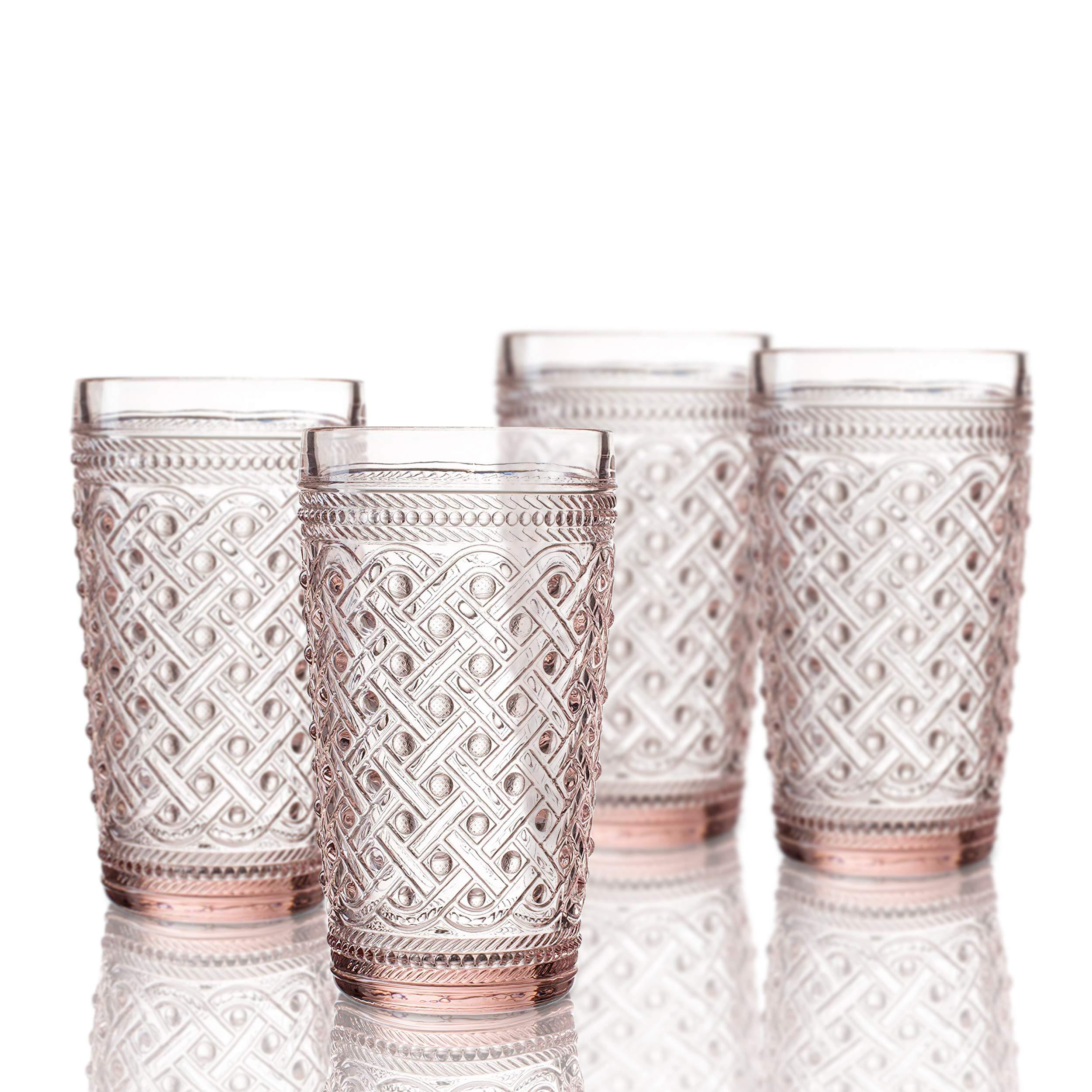 Elle Decor 229807-4HBPU Bistro Ikat 4 Pc Set Highball, Pink-Glass Elegant Barware and Drinkware, Dishwasher Safe, 13 oz,