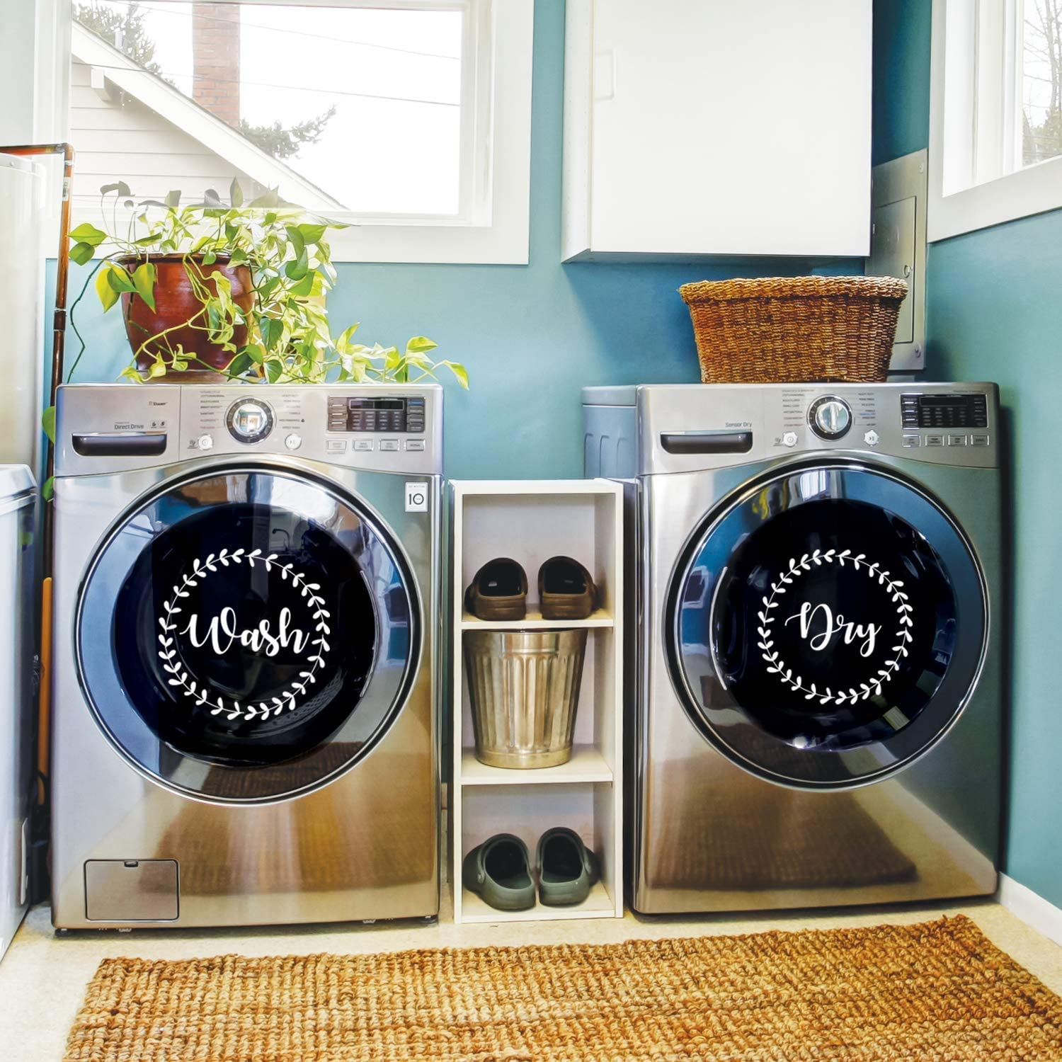 """Vinyl Wall Art Decal - Wash Dry - 15"""" x 15"""" Each - Modern Trendy Cute Washer Quote for Home Apartment Washing Machine Dryer Laundry Room Closet Chores Indoor Outdoor Decoration (White)"""