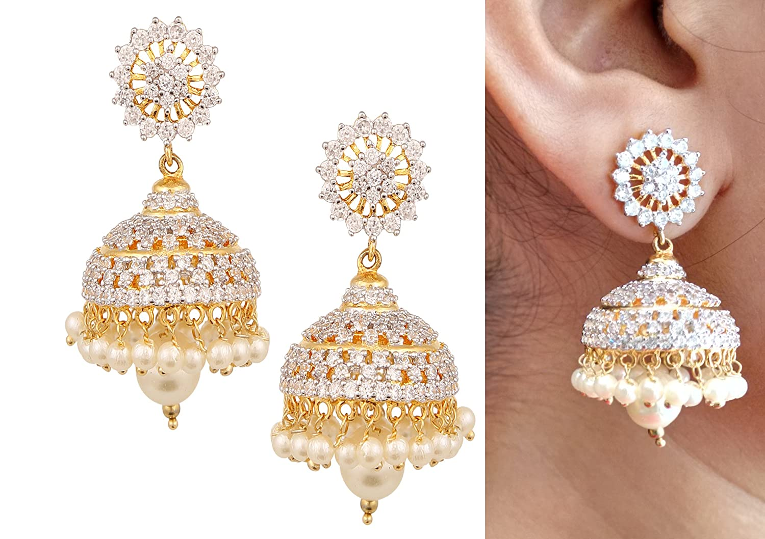 twin synthetic polish studded gold jhumka historic with antique diamond ruby pin earrings designed peacock stones