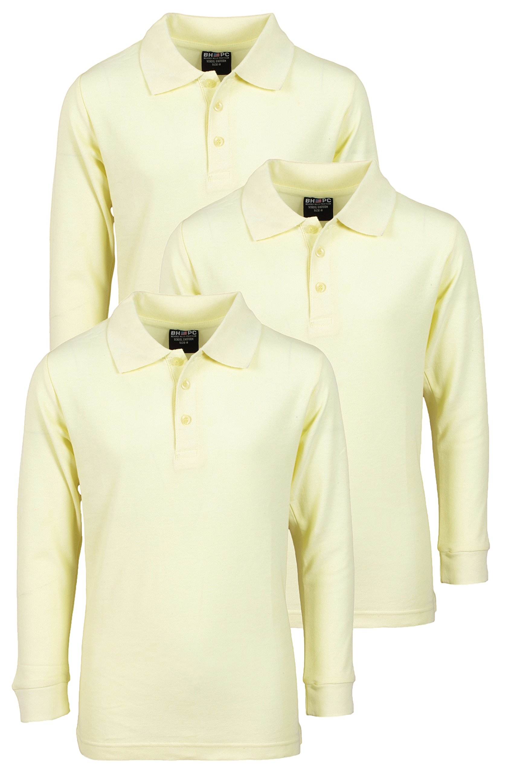'Beverly Hills Polo Club 3 Pack of Boys' Long Sleeve Pique Uniform Polo Shirts, Size 5, Yellow'