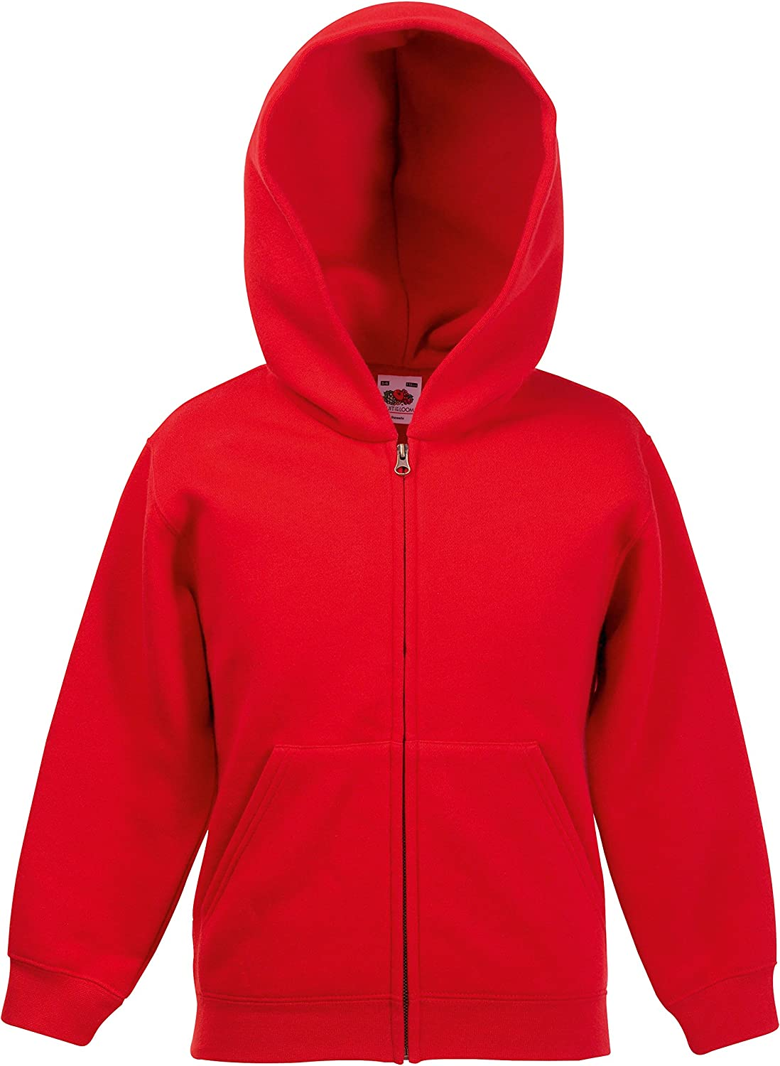 Fruit of the Loom Childrens Classic Zip Hodded Sweatshirt Red Age 9-11
