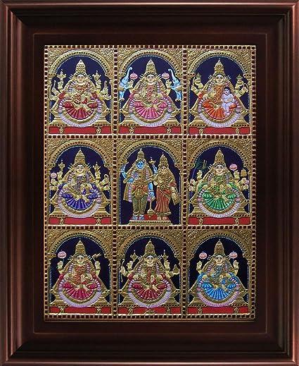 MYANGADI 22 Carat Gold Foil Traditional Ashta Lakshmi Tanjore