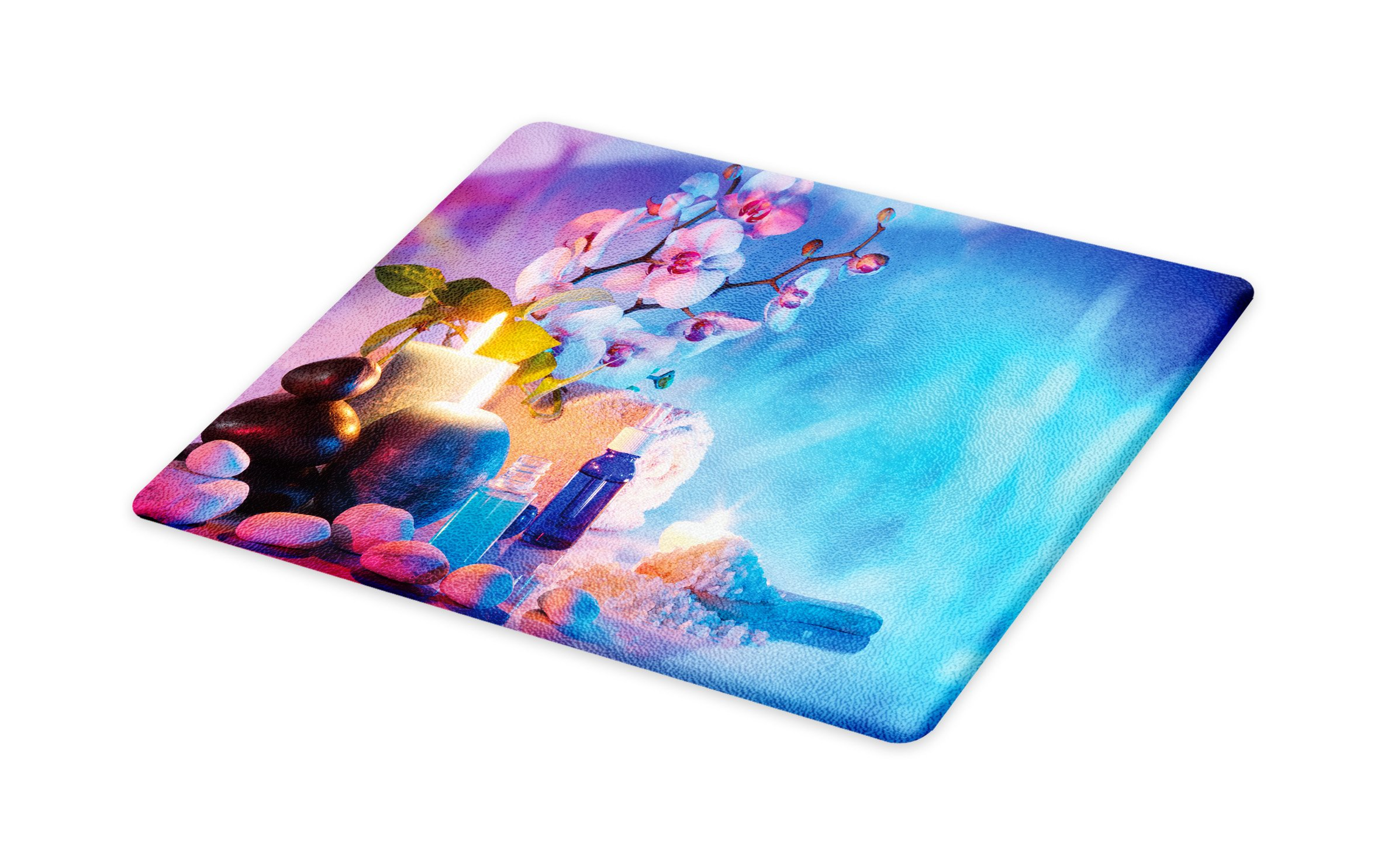Lunarable Spa Cutting Board, Preparation for Bath Massage in Garden with Stones Flowers Essential Oils Aromatherapy, Decorative Tempered Glass Cutting and Serving Board, Large Size, Pink Blue