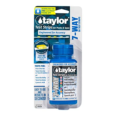 taylor Pool 7-Way Chlorine/Bromine Test Strips - 50 Test Strips : Garden & Outdoor