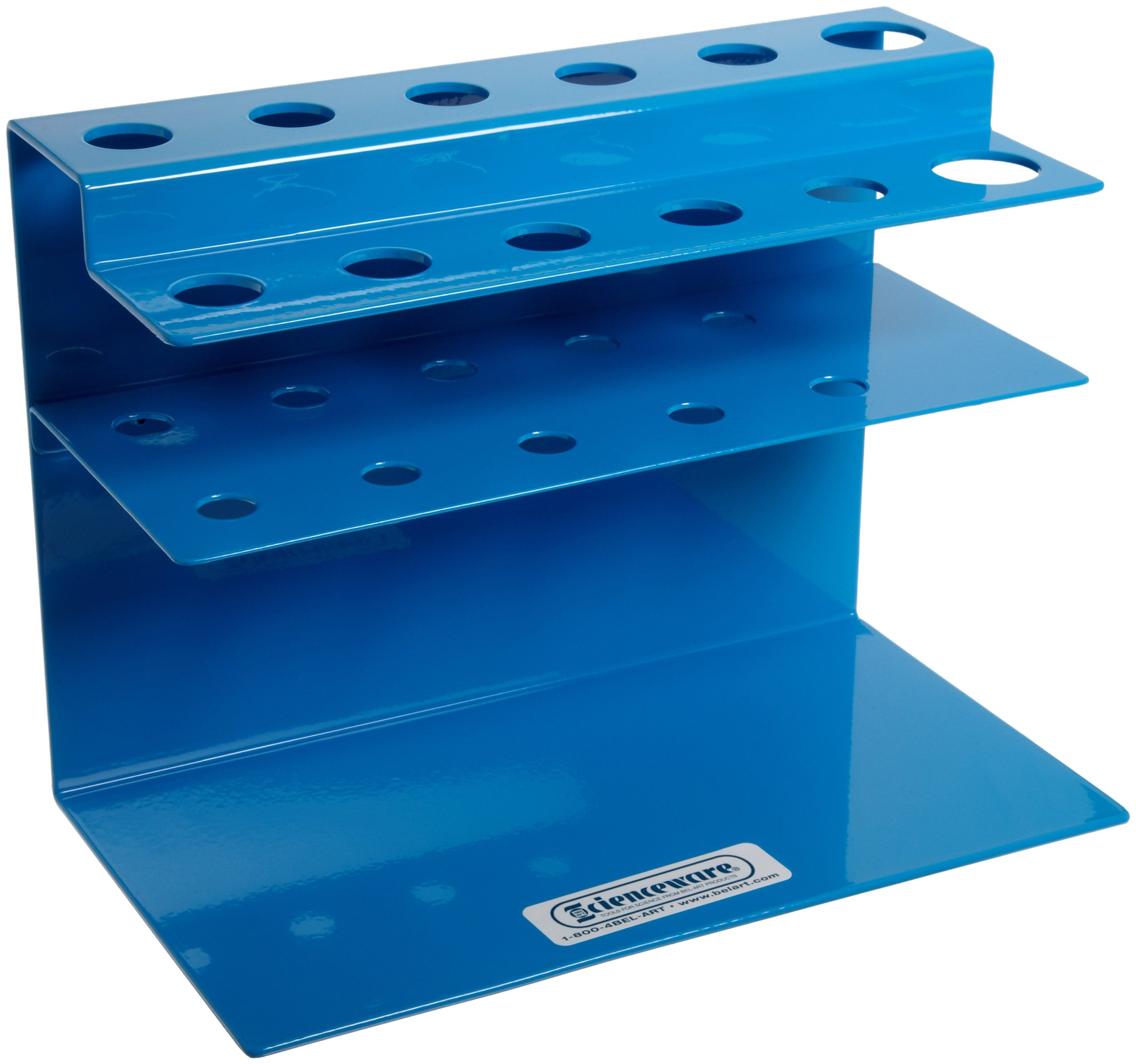Bel-Art Poxygrid Microliter Pipettor Rack; 10 Places, 9 x 5 x 6¾ in, Aluminum (H18962-0000)