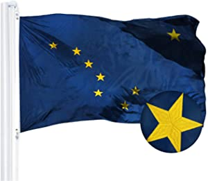 G128 – Alaska State Flag | 3x5 feet | Embroidered 210D – Indoor/Outdoor, Vibrant Colors, Brass Grommets, Quality Polyester
