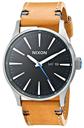 watches all leather accessori nixon accessories blue dark sentry
