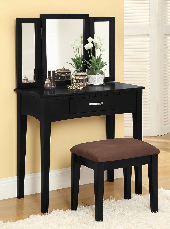 Amazon com  Furniture of America Potterville Vanity Set  Black  Kitchen    Dining. Amazon com  Furniture of America Potterville Vanity Set  Black