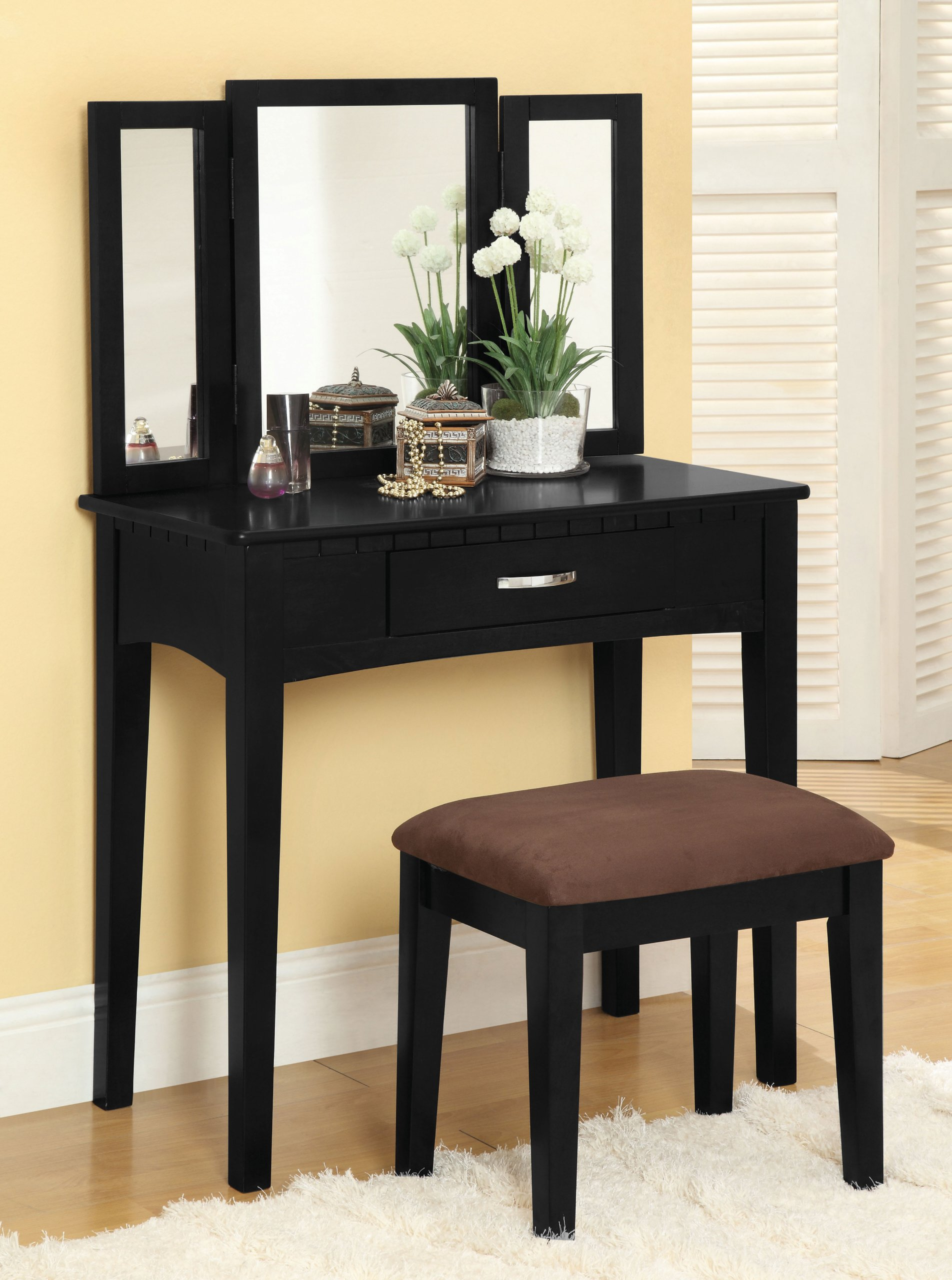 Furniture of America Potterville Vanity Set, Black