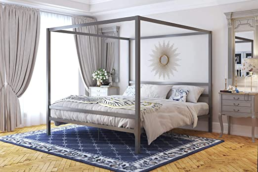 Amazon Com Dhp Modern Canopy Bed With Built In Headboard King Size Gray Furniture Decor