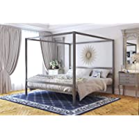 DHP Modern Canopy Metal Bed, Gray, King
