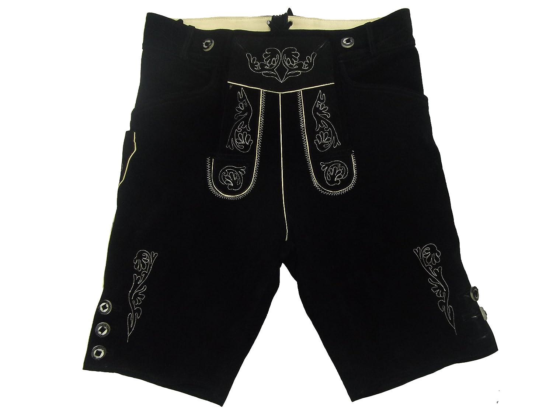 Kurze schwarze Lederhose - Lederhosen - schwarze Trachtenlederhose Größe 56 - Trachten Lederhose in schwarz