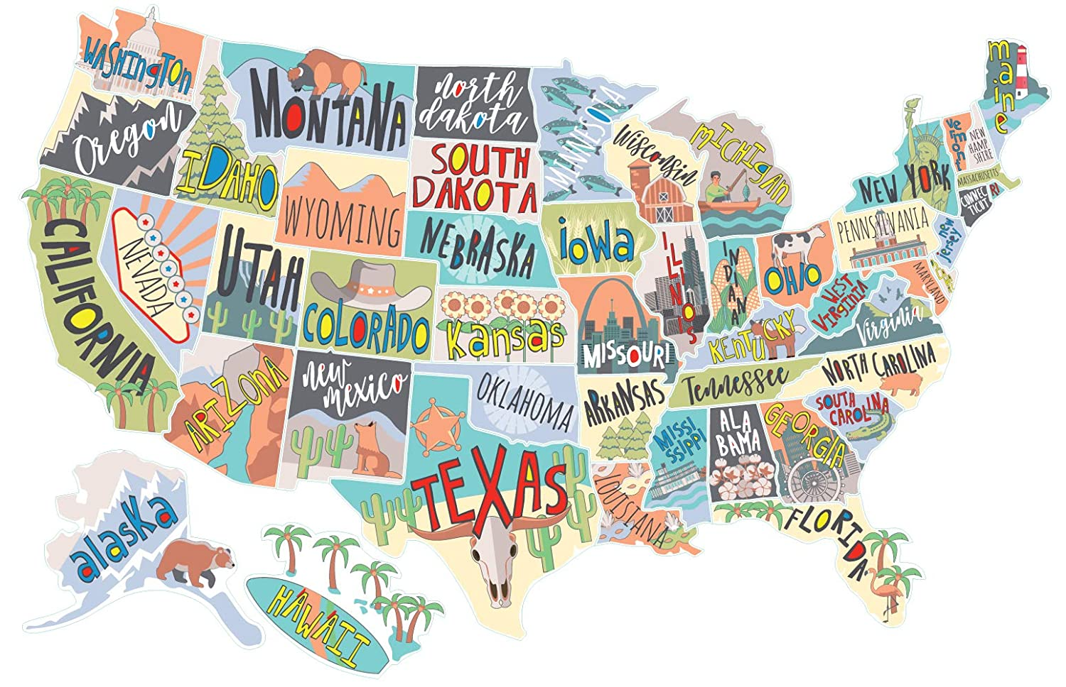 US States Map Travel Tracker Sticker Set | United States Adventure Decals  for RVs Motorhomes and Campers | Large (22 x 13 inches) | Road Trip States  ...