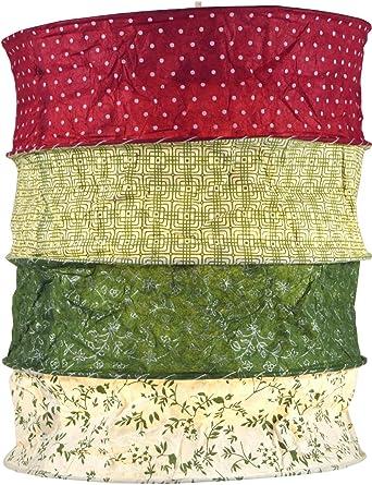 Guru-Shop Lámpara Redonda Para Colgar Papel, Pantalla de Papel Lokta Kailash, Papel Hecho a Mano - Rojo/verde, PapelLokta, 35x28x28 cm, Lámparas de ...