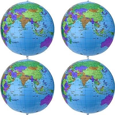 16 Pouces Globe Gonflable Globe Terrestre Gonflable Globe de Balle de Plage pour Jouer à la Plage Éducative, Coloré (Paquet de 4)