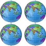 16 Zoll Inflatable Globe Aufblasbare Weltkugel Wasserball Kugel für Den Pädagogischen Spielenden Strand, Bunt (4 Packung)