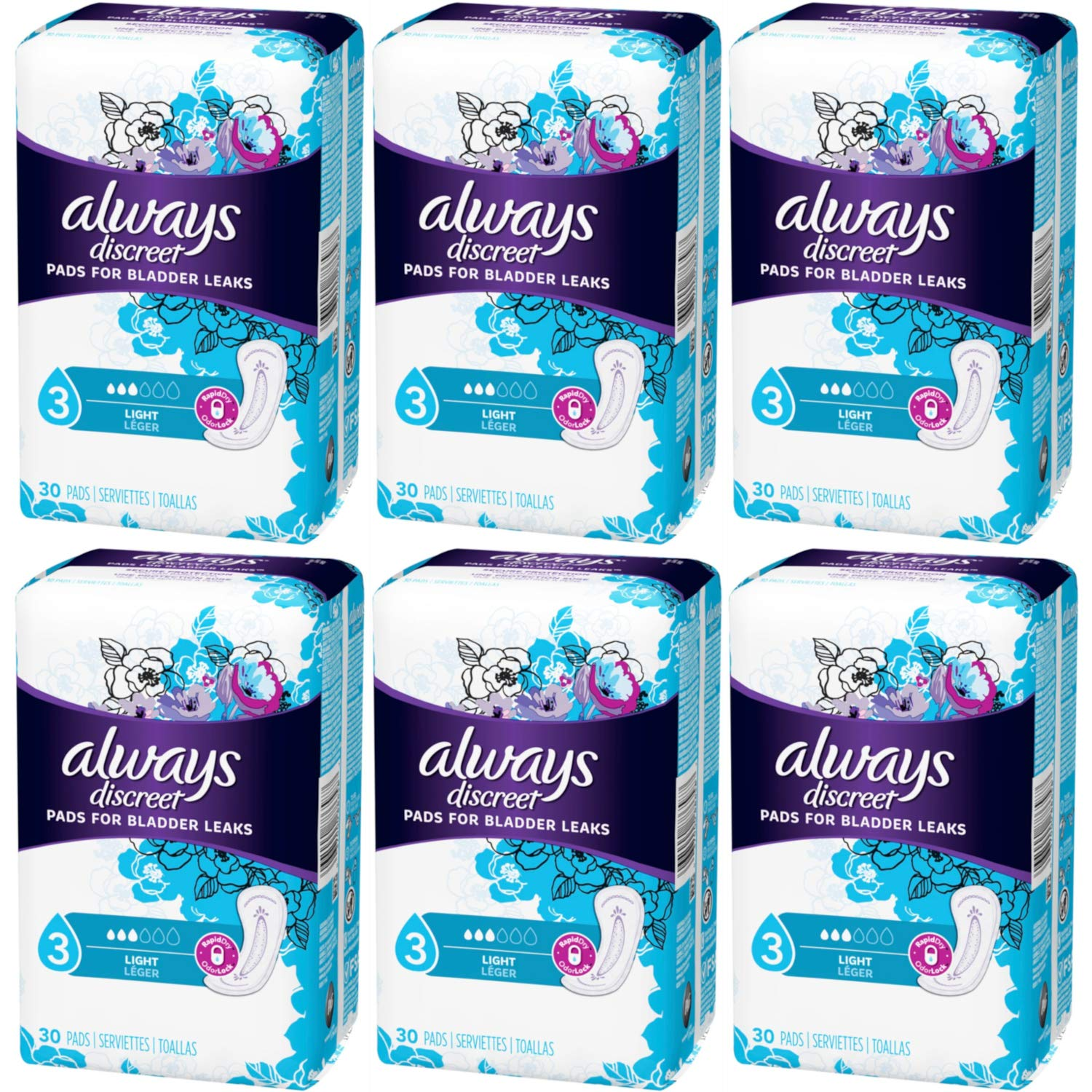 Amazon.com: Always Discreet, Incontinence Light Pads, 3 Drops, 30 Pads each (Value Pack of 6): Health & Personal Care