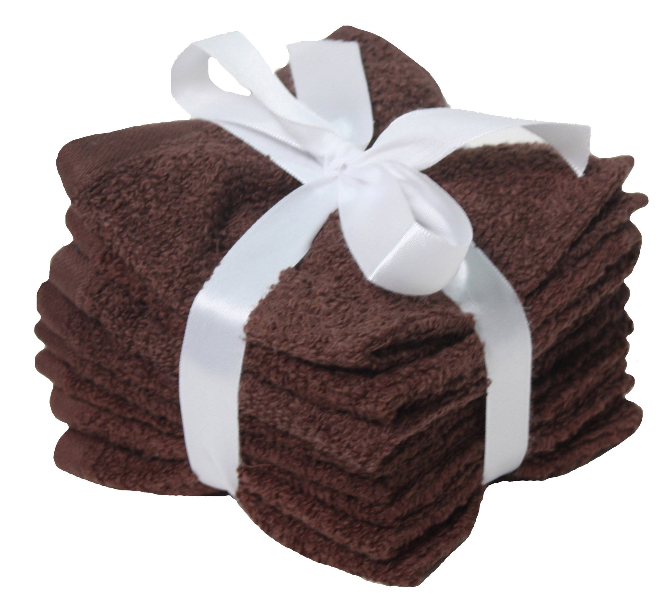J&M Home Fashions Premium 8-Piece Cotton Washcloth Set, 12x12'', Hotel & Spa Quality, Super Soft and Ultra Absorbent Face Towels for Bathroom & Washroom-Coffee Brown