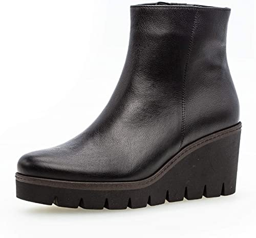 ladies black leather wedge ankle boots