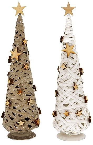 Dekobaum Gewebt   Tannenbaum Aus Holz Mit Holzsternen   Weihnachtsdeko 46  Cm Weiß