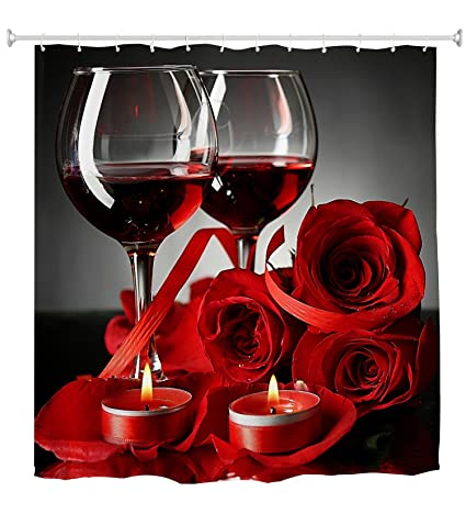 Goodbath Shower Curtain Rose Red Wine Romantic Lovers Waterproof Mildew Resistant Bath For Bathroom