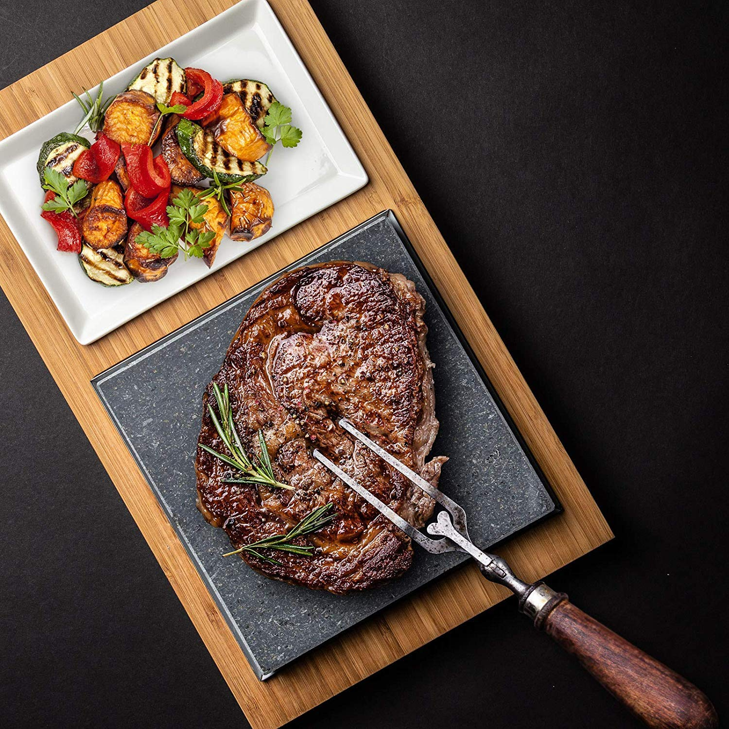 LAVAROCK Cooking Stone - Professional Lava Rock Serving Platter Set | Grill Like a Master Chef on a Cold Lava Stone - 8 Inch x 8 Inch with Bamboo Board and a Ceramic Tray.