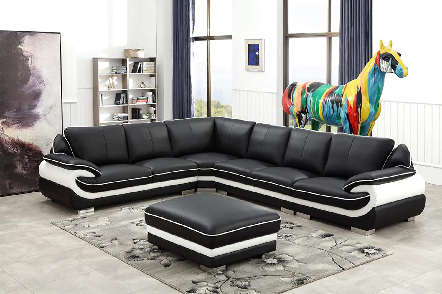 Amazon com oakland living t777b sec otto bk black and white contemporary real leather furniture ottoman modern sectional living room set large kitchen