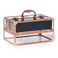 Beautify Professional Large Lockable Acrylic Vanity Makeup & Cosmetic Storage Display Case with Rose Gold Frame