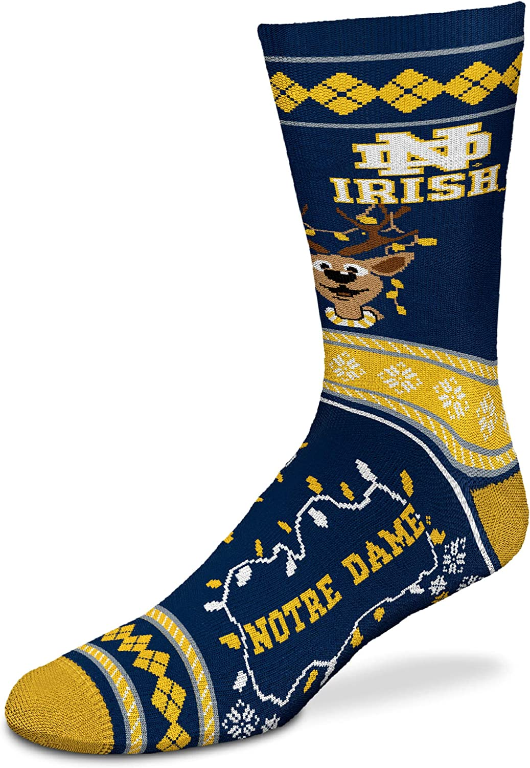 For Bare Feet - NCAA Sweater Stripe Holiday Crew Socks