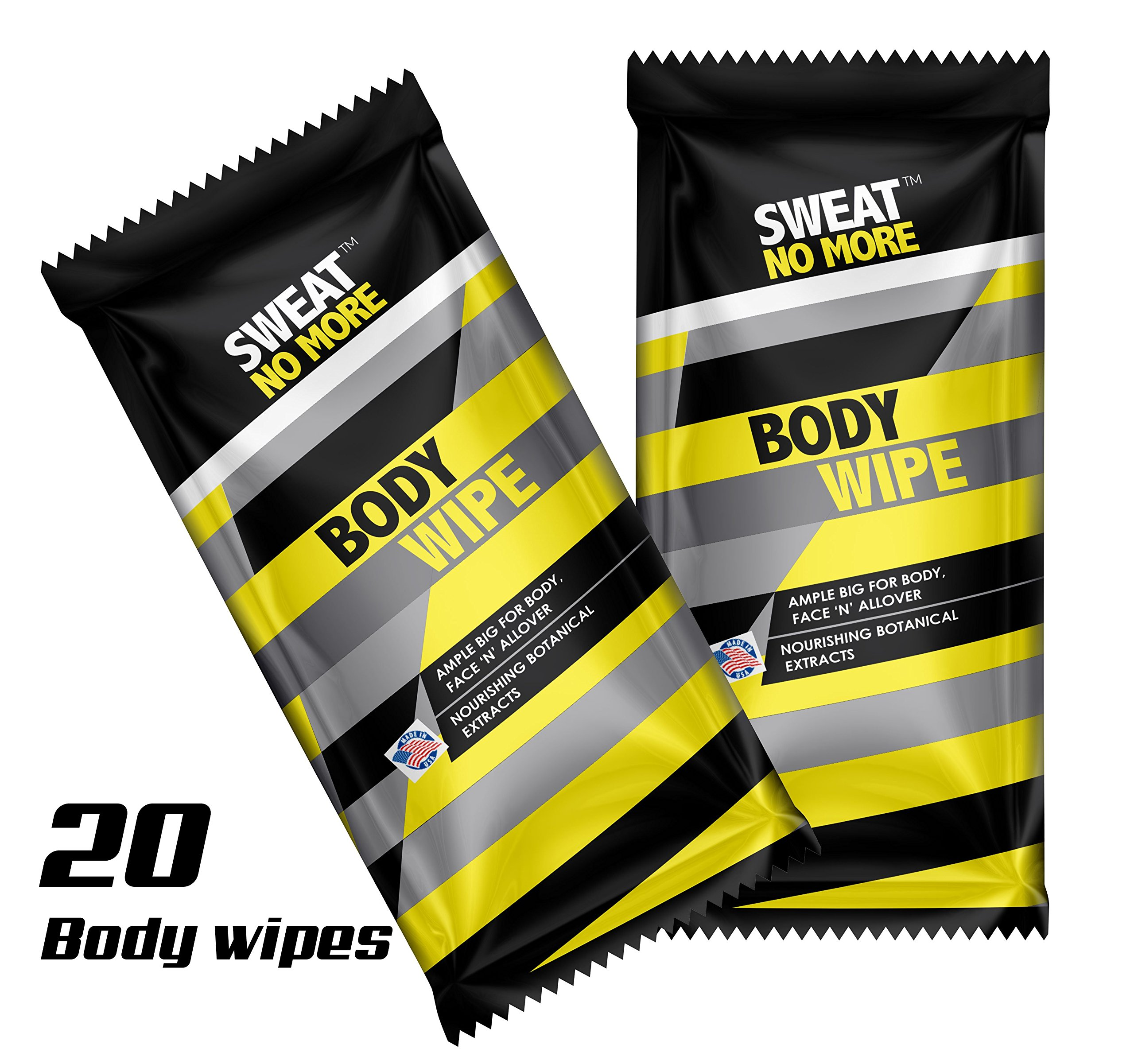 Sweat No More Extra Large 10 x 9'' Body Wipes for Outdoor Activities Cleaning and Deodorizing, Remover Sweat, Dirt and Body Odor, Individually Wrapped - Pack of 20