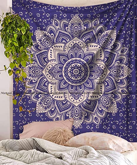 Ombre Mandala Silver Indian Wall Hanging Throw Bohemian Decor King Size Tapestry