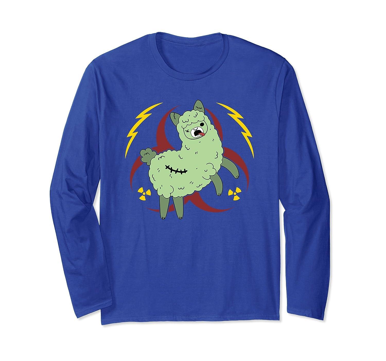 Zombie Alpaca Stitched Up Green Hazard Long Sleeve T-Shirt-mt