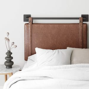 Nathan James Harlow Wall Mount Faux Leather or Fabric Upholstered Headboard, Adjustable Height Vintage Brown Straps with Black Matte Metal Rail, Twin