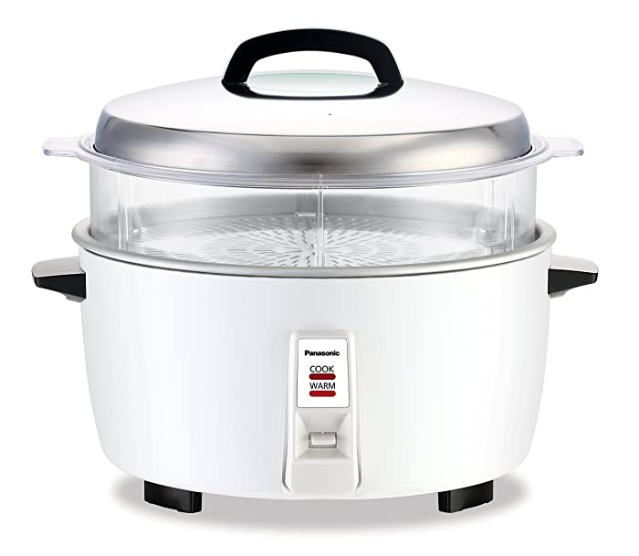 Panasonic SRGA321SH 17 Cup Commercial Automatic Rice Cooker w/Steam Basket, SR-GA321SH, White