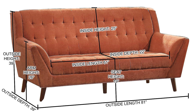 Amazon com homelegance erath danish modern mid century sofa with tufted accent orange kitchen dining
