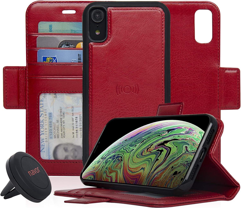 Navor Universal Car Mount and Detachable Magnetic Wallet Case Compatible for iPhone XR 6.1 - Black Vajio Series IPXRVJKTBK