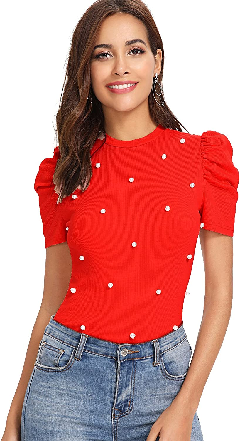 ROMWE Womens Elegant Pearl Embellished Puff Short Sleeve Embroidered Blouse Tops